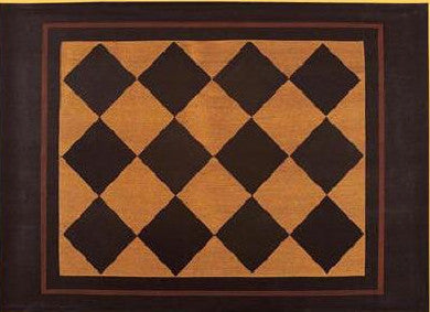 "Diamond Floorcloth with Border in Antique - Size 24"" x 36"""