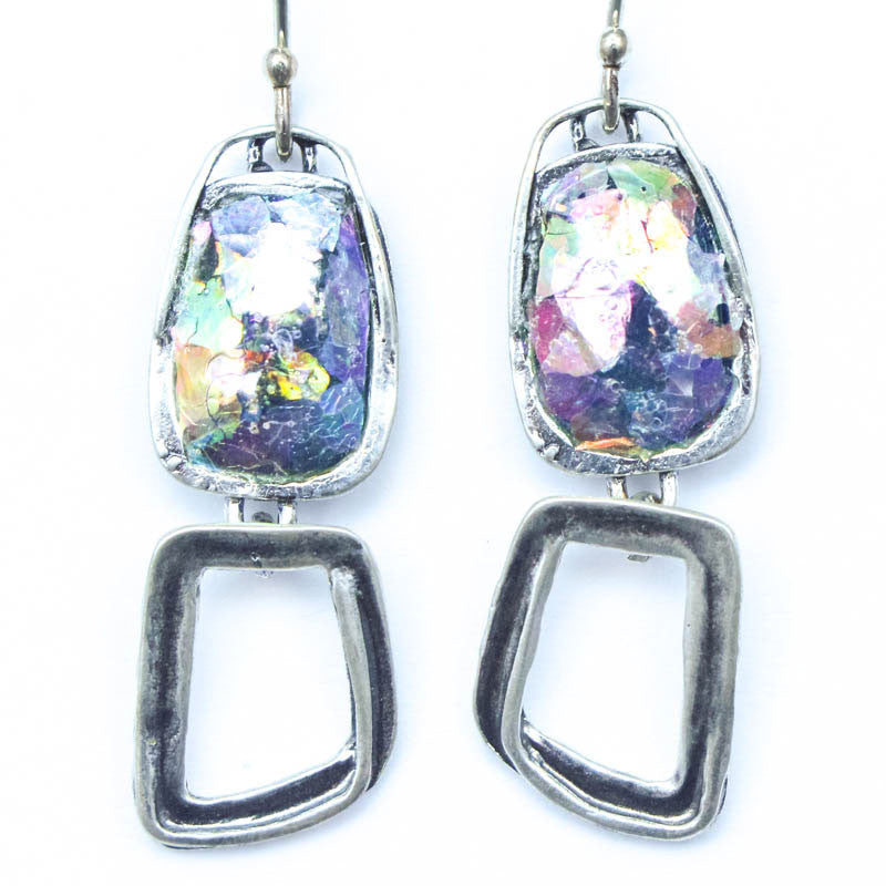 Open Abstract Rectangle Dangle Washed Roman Glass Earrings