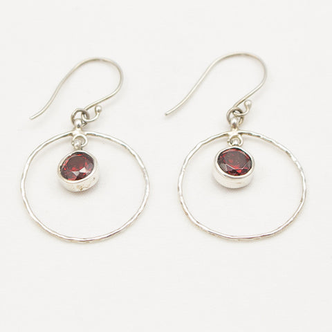 Sterling Silver Hammered Circle with Center Garnet Drop Earrings