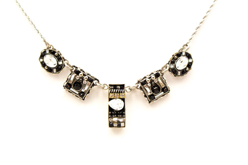 Black and White Viva Small Necklace by Firefly Jewelry