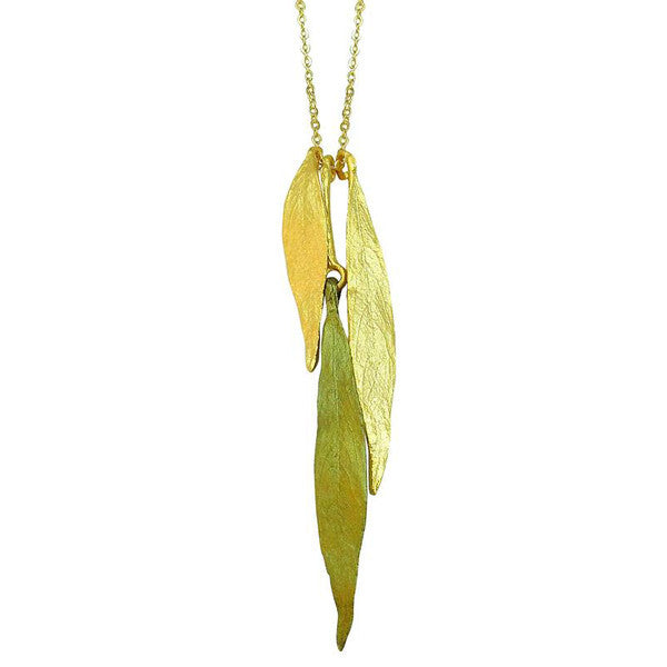 Weeping Willow Triple Leaf 16 Inch Adjustable Necklace