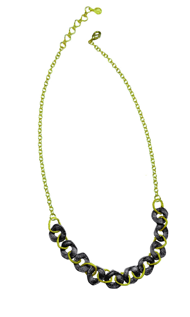 Curly Pod Gunmetal and Gold Necklace