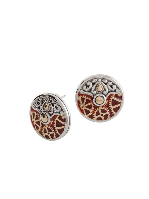 Anvil Collection - Gears of Time Edition - Round Post Clip Gear Carnelian Earrings by John Medeiros