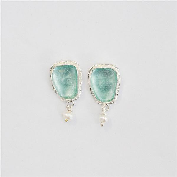 Inverted Triangle Washed Roman Glass Post Earrings with White Pearls