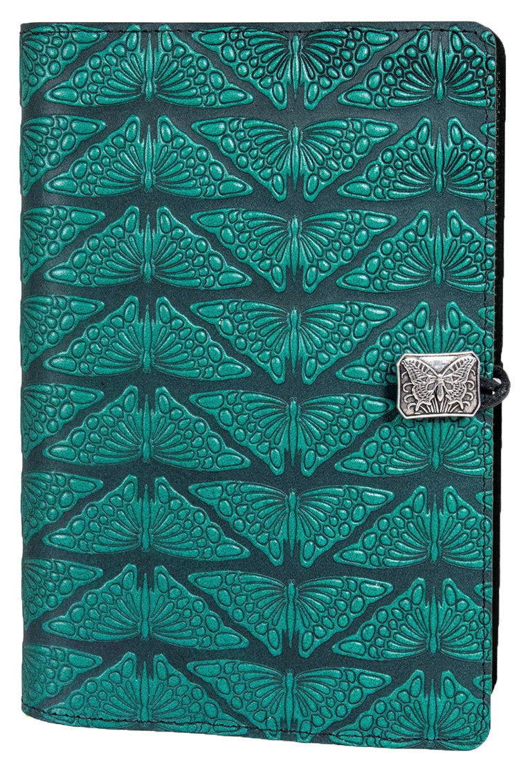 Large Leather Journal - Mariposas in Teal