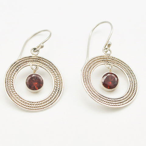 Sterling Silver Round Braid with Garnet Dangle Earrings