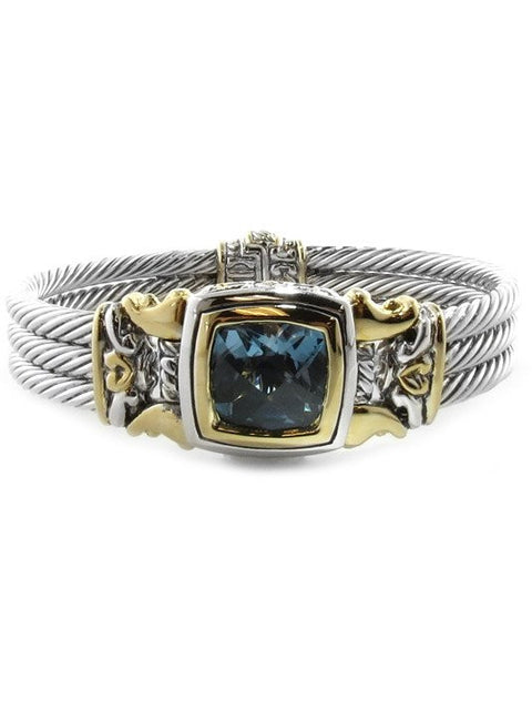 Anvil Square Cable Magnetic Clasp Aqua Bracelet by John Medeiros