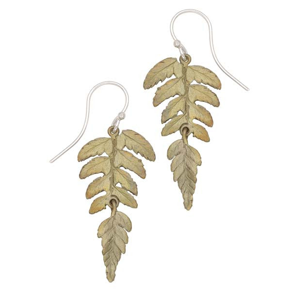 Joined Two Part Fern Earrings by Michael Michaud