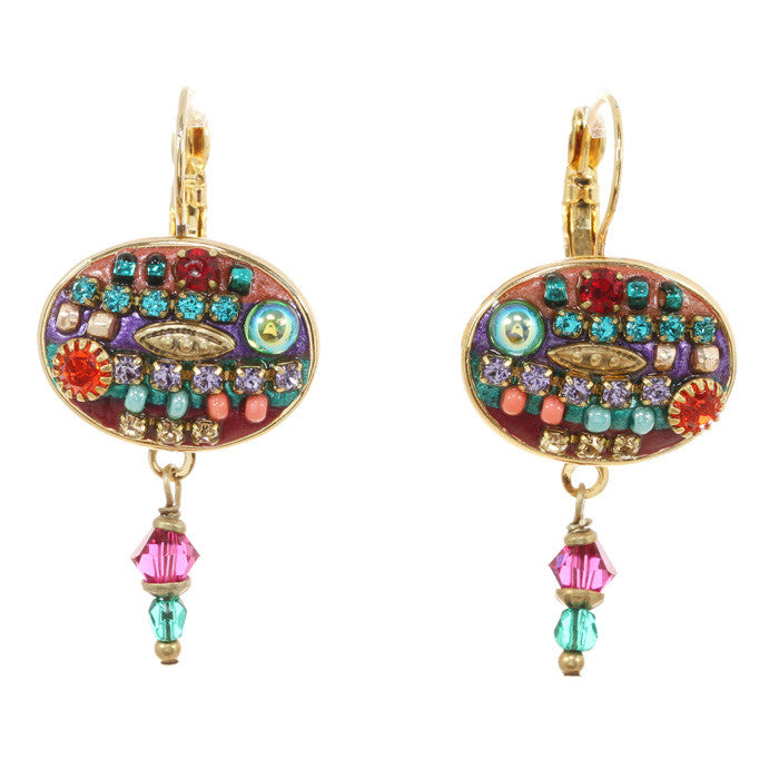 Multi Bright Oval with Dangle Earrings by Michal Golan