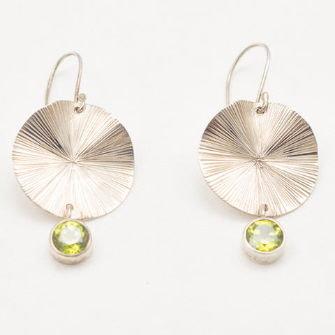 Sterling Silver Lily Pad with Peridot Drop Earrings