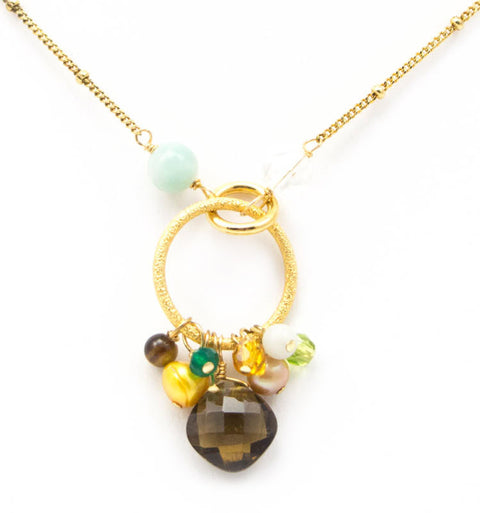 Circle Pendant with Whiskey Quartz Necklace by Anna Balkan