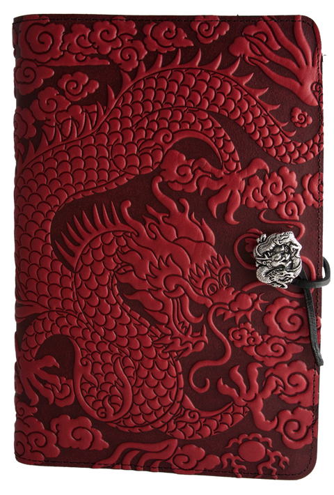 Small Leather Journal -  Cloud Dragon in Red