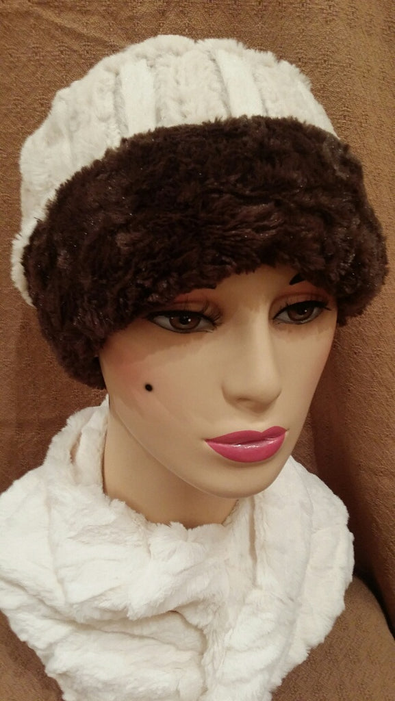 Porcelain with Cuddly in Chocolate Luxury Faux Fur Cuffed Pillbox Hat