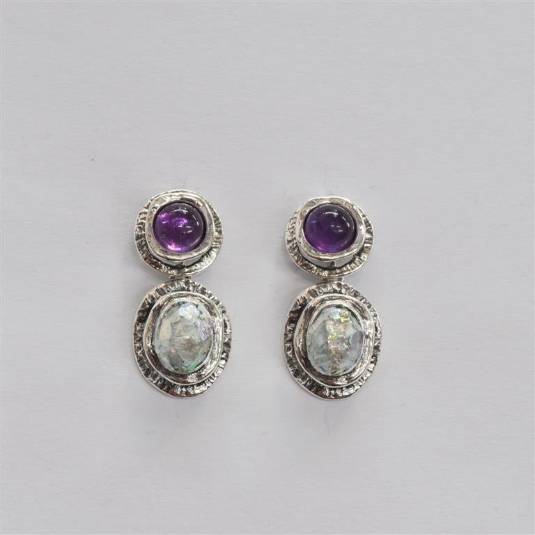 Shiny Silver Amethyst Roman Glass Earrings