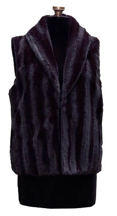 Minky Fur In Black Luxury Faux Fur Vest: Size Large