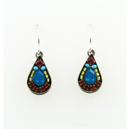 Caribbean Blue Mosaic Teardrop Earrings by Firefly Jewelry