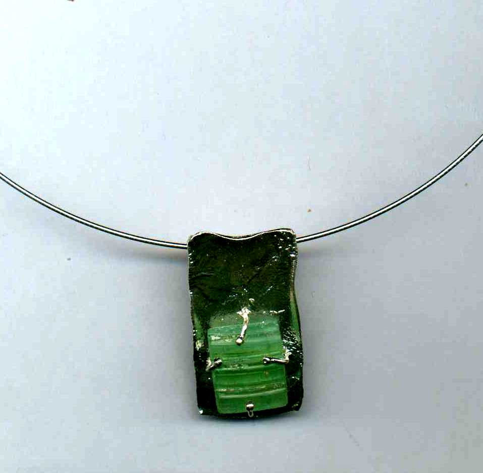 Wrapped Square Washed Roman Glass Necklace