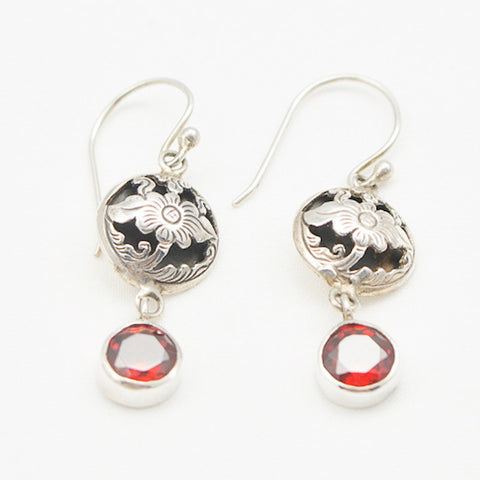 Sterling Silver Floral Cutout with Garnet Drop Earrings