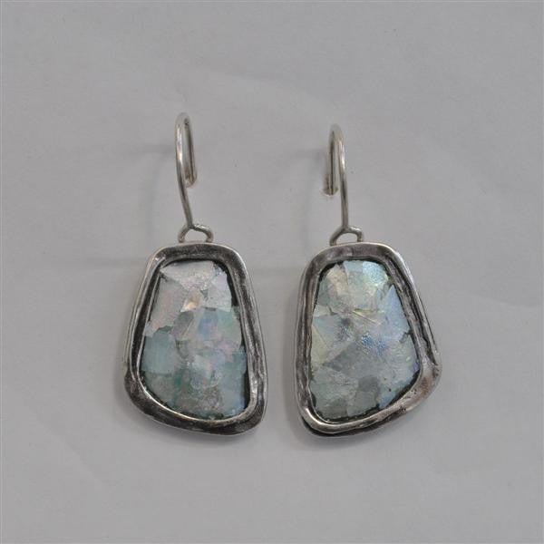 Abstract Rectangle Patina Roman Glass Earrings