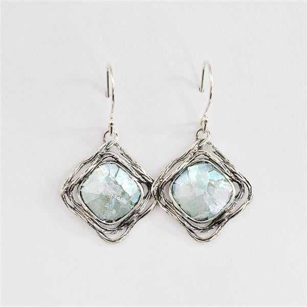 Open Framed Diamond Shaped Patina Roman Glass Earrings