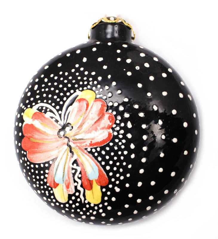 Afternoon Flutter Small Round Ceramic Ornament