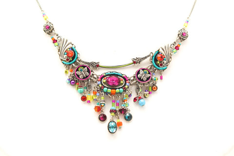 Multi Color Botanical Elaborate Necklace by Firefly Jewelry