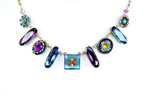 Multi Color Gold La Dolce Vita Oblong Necklace by Firefly Jewelry