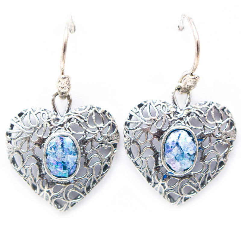 Lace Heart with Oval Parina Roman Glass Earrings