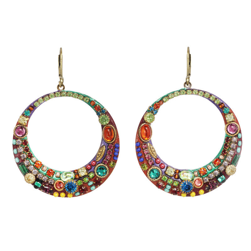Multi Bright Large Hoop Earrings by Michal Golan