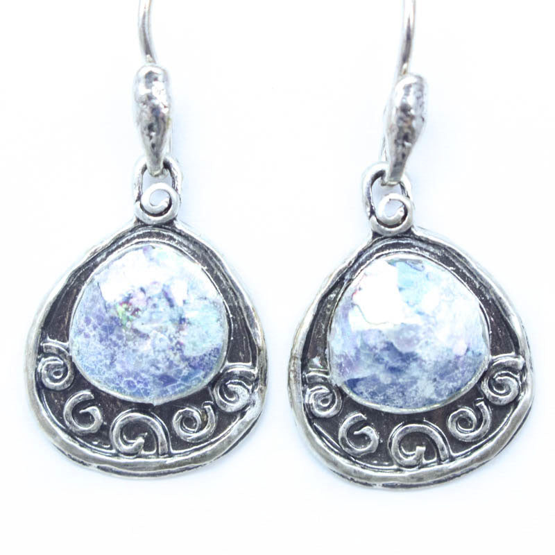 Wide Framed Teardrop Patina Roman Glass Earrings