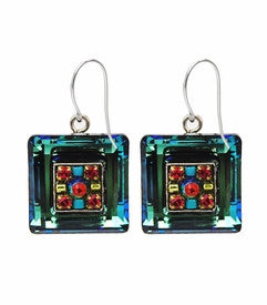 Multi Color La Dolce Vita Crystal Square Earrings by Firefly Jewelry