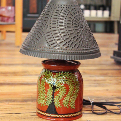 Redware Lamp with Tree of Life
