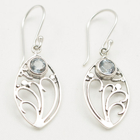 Sterling Silver Floral Nouveau Dangle with Round Faceted Blue Topaz Earrings