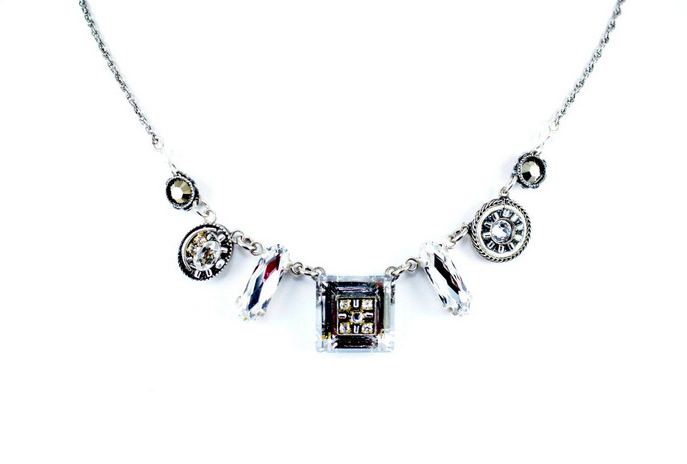 Silver La Dolce Vita Mosaic Crystal Necklace by Firefly Jewelry