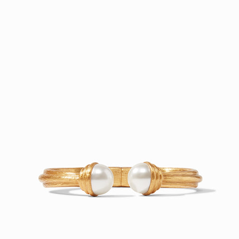Barcelona Hinge Cuff Gold Pearl by Julie Vos