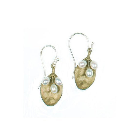Boxwood Single Leaf Wire Earrings by Michael Michaud
