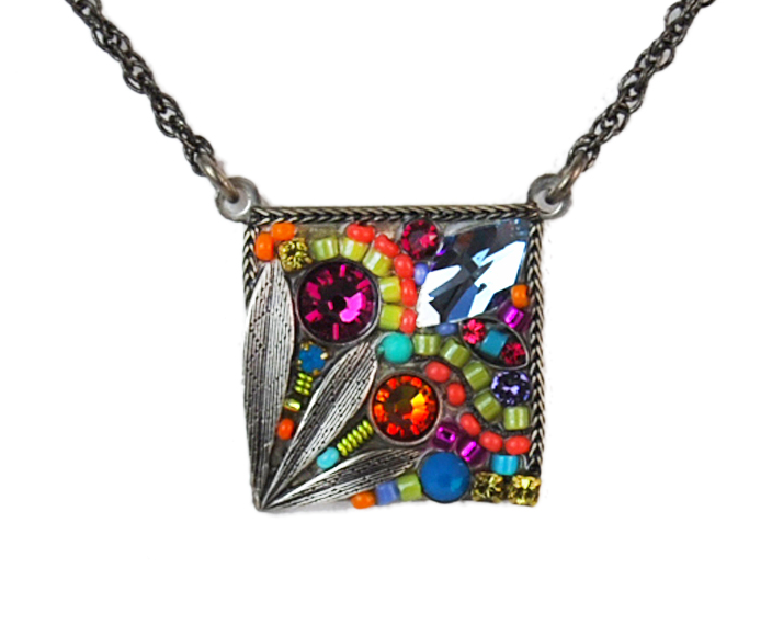 Multi Color Square Flower Mosaic Pendant by Firefly Jewelry