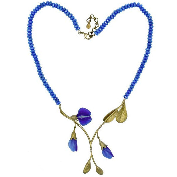 Blue False Indigo Stone Necklace by Michael Michaud