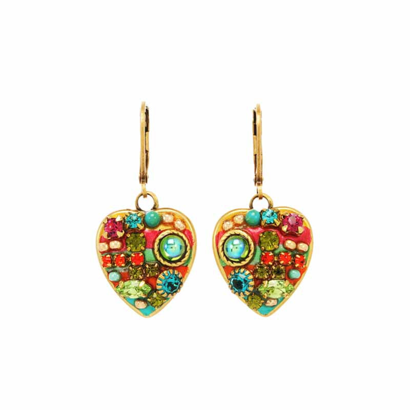 Multi Bright Heart Dangle Earrings by Michal Golan
