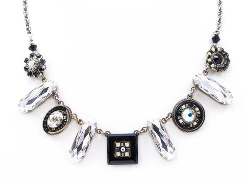 Black and White La Dolce Vita Oblong Necklace by Firefly Jewelry