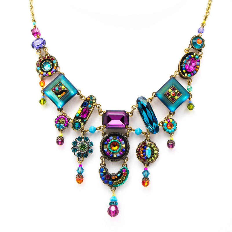 Multi Color La Dolce Vita Gold Elaborate Necklace by Firefly Jewelry