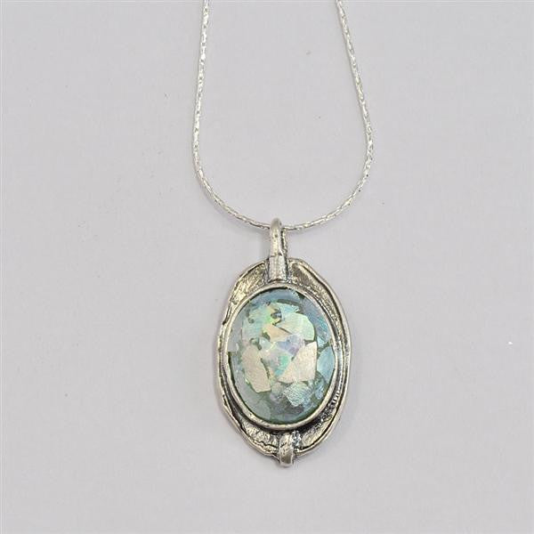 Loop Top Oval Patina Roman Glass Necklace