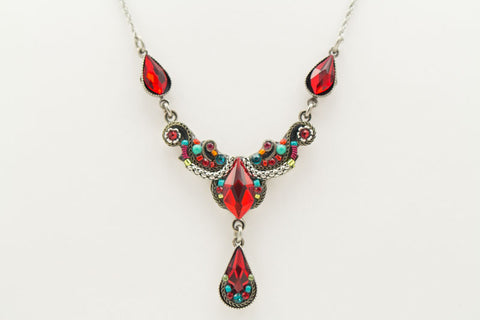 Red Lily Organic Necklace by Firefly Jewelry