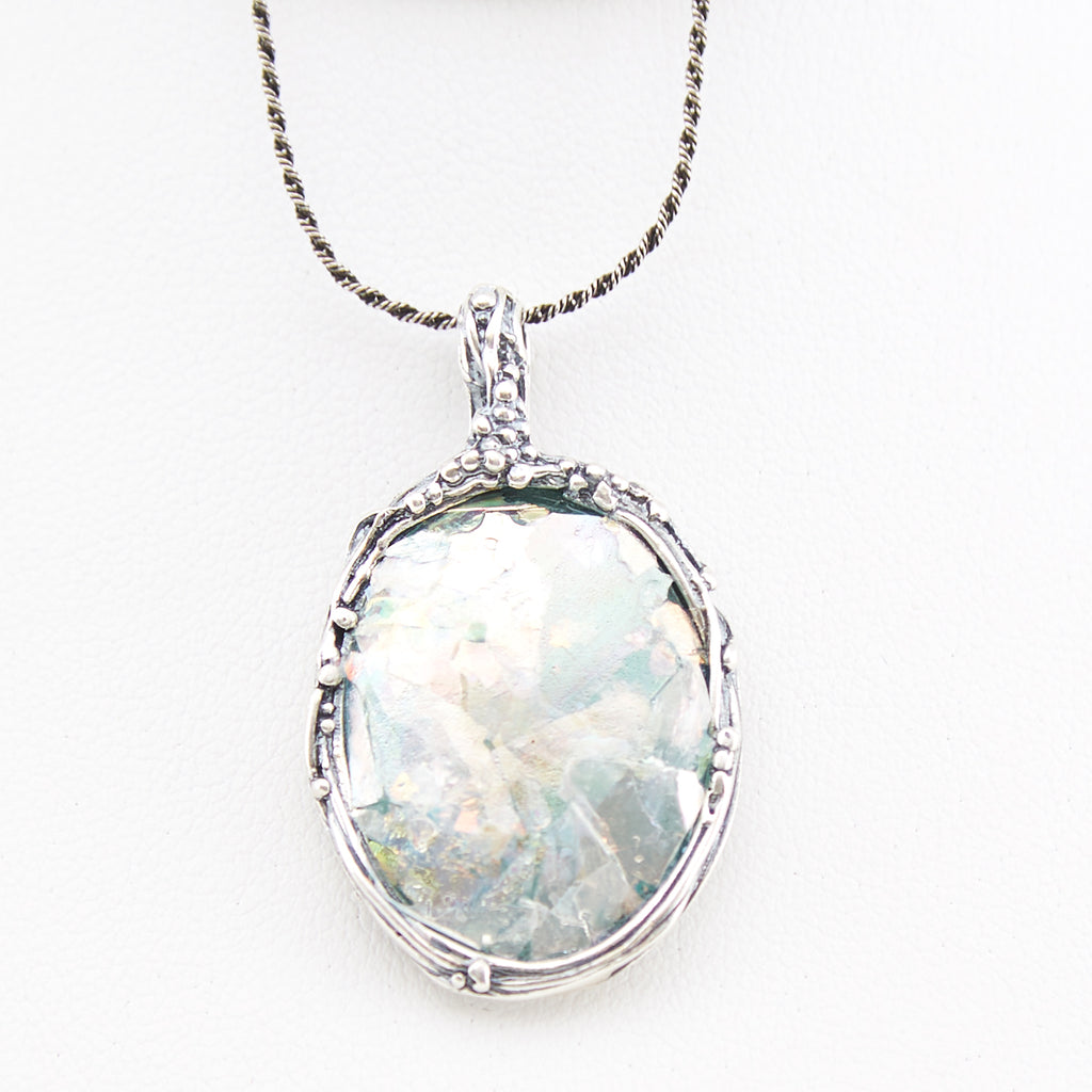 Delicate Framed Oval Patina Roman Glass Necklace