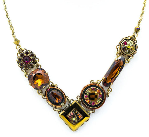 Smokey Topaz La Dolce Vita Crystal V Necklace by Firefly Jewelry