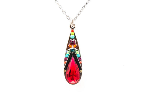 Multi Color Scarlet Camelia Simple Pendent Necklace by Firefly Jewelry