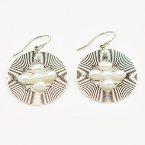 Sterling Silver Disc with Four Center Pearls Earrings