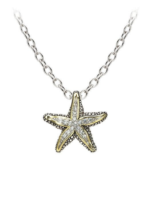 Ocean Images Seaside Collection Pavé Starfish Slider with Necklace by John Medeiros