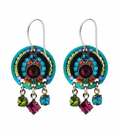 Multi Color Sparkly Circle Earrings by Firefly Jewelry