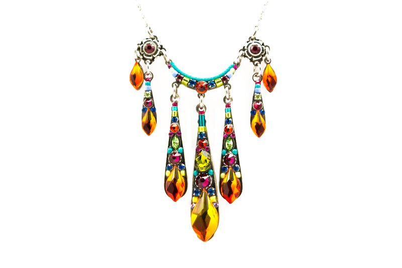Multi Color Gazelle Waterfall Necklace by Firefly Jewelry